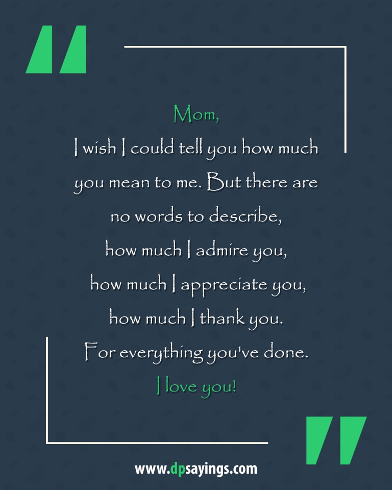 60 Heartwarming I Love You Mom Quotes and Sayings - DP Sayings