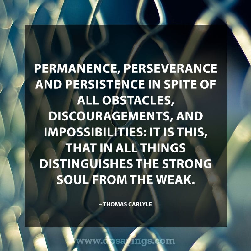 "Perseverance Quotes And Sayings 20 ""Permanence, perseverance and persistence in spite of all obstacles, discouragements, and impossibilities: It is this, that in all things distinguishes the strong soul from the weak."" – Thomas Carlyle"