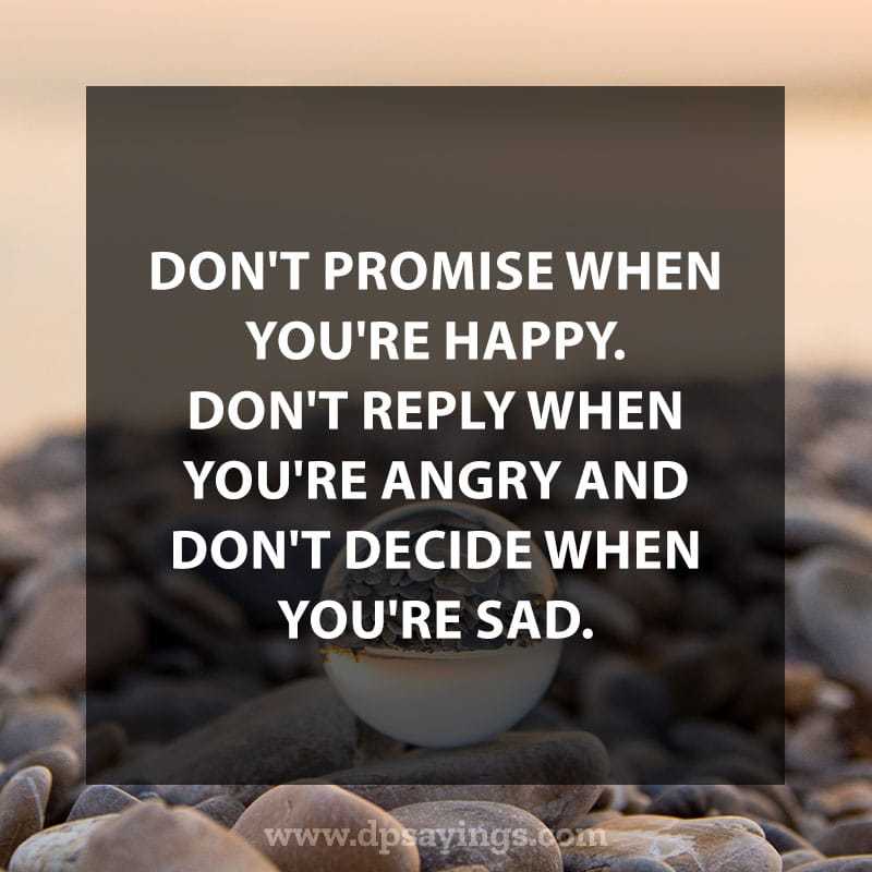 "Daily life quotes 16 ""Don't promise when you're happy. Don't reply when you're angry and don't decide when you're sad."""