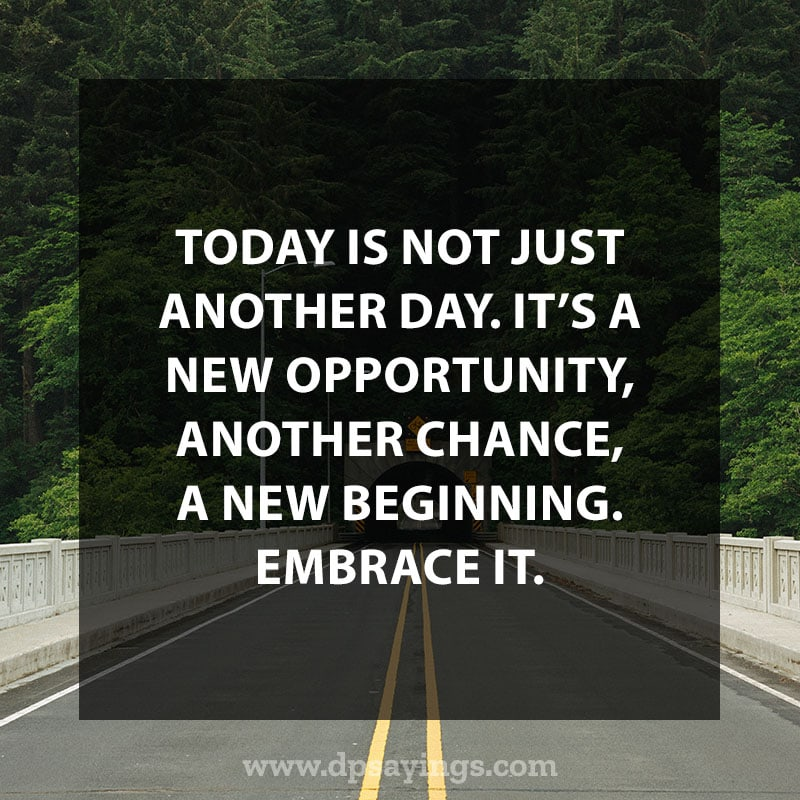 "Daily life quotes 24 ""Today is not just another day. It's a new opportunity, another chance, a new beginning. Embrace it."""
