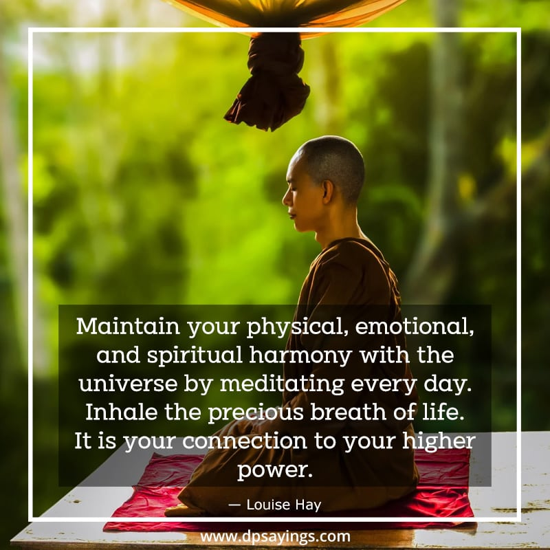 A Quote on Meditation which tells Inhale the precious breath of life. It is your connection to your higher power.