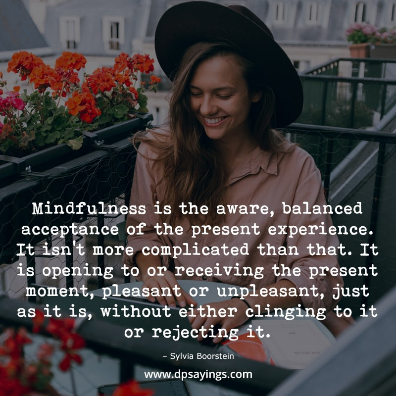 """Mindfulness quotes """"Mindfulness is the aware, balanced acceptance of the present experience..."""""""