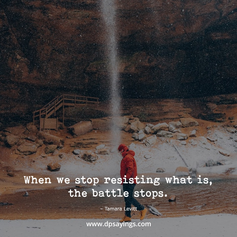 """Mindfulness quotes """"When we stop resisting what is, the battle stops."""""""