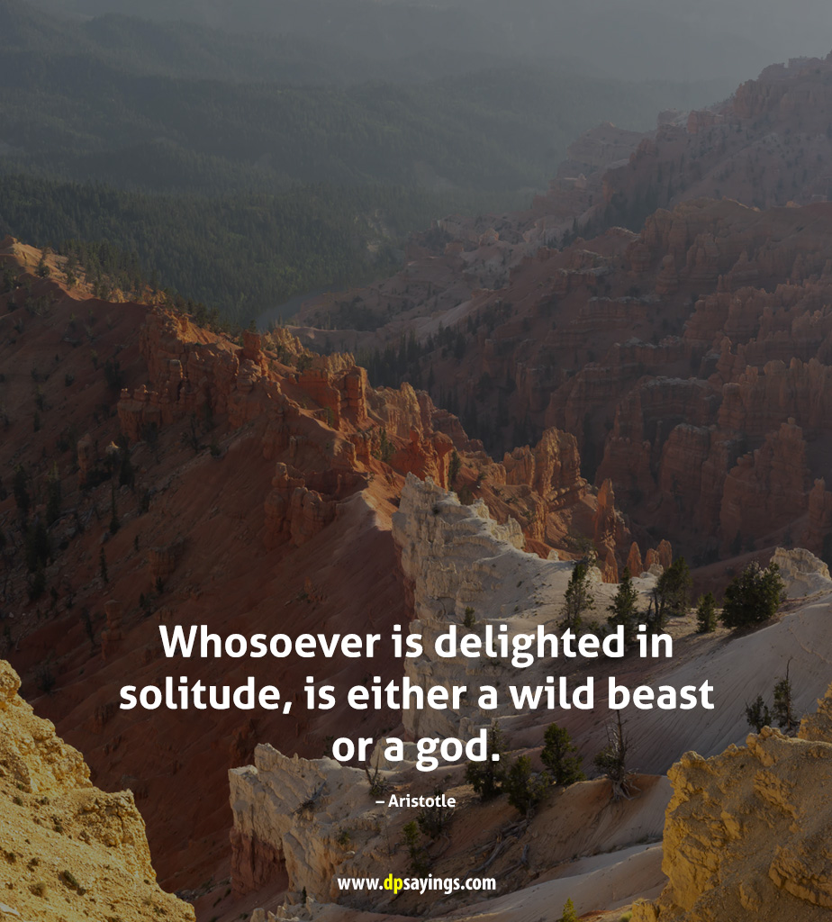 Whosoever is delighted in solitude, is either a wild beast or a god.