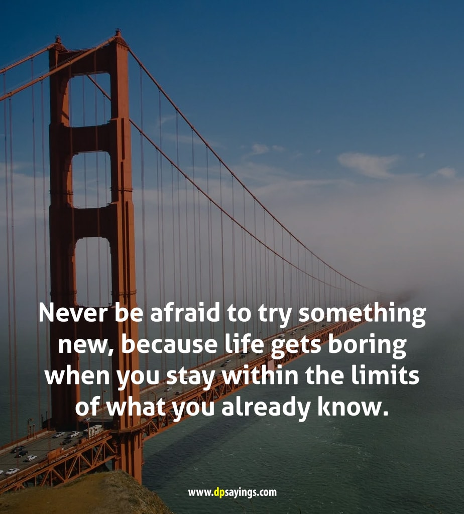 Never be afraid to try something new, always try to do something new.